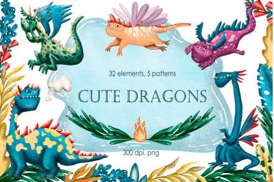Cute Dragons - Clip Art Set