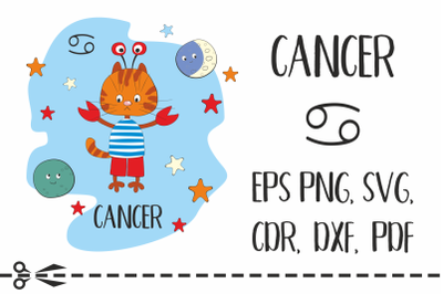 Cancer. Zodiac sign with funny cat