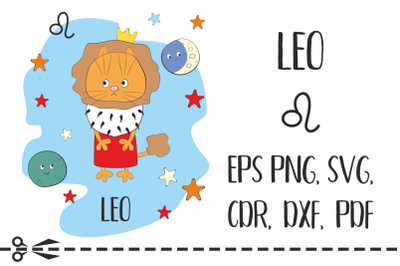 Leo. Zodiac sign with funny cat