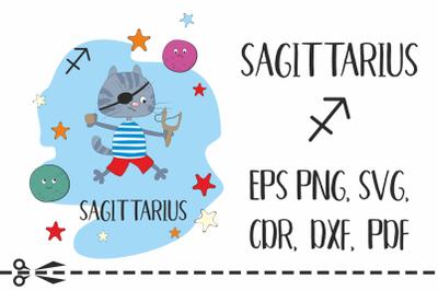 Sagittarius. Zodiac sign with funny cat