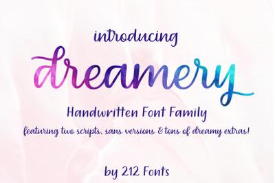 Dreamery Script and Sans Handwritten Feminine Font Trio