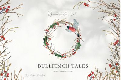 Watercolor Christmas Bullfinch Set