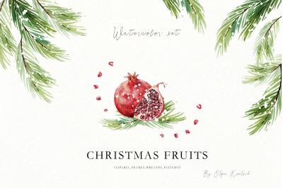Christmas Fruits Watercolor Set