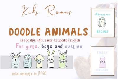 Graphic set with 52 doodle animals, PNG, illustration