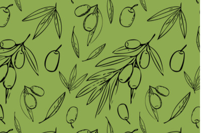 Olives and leaves seamless pattern
