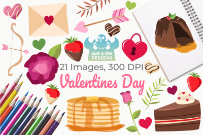 Valentines Day Clipart, Instant Download Vector Art, Commercial Use