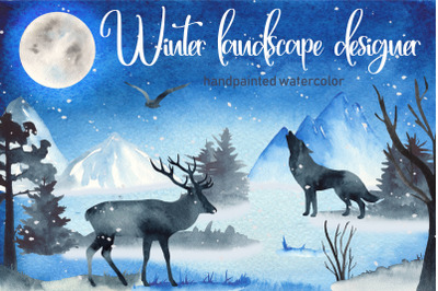 Winter landscape watercolor clipart. Silhouette deer, wolf, trees