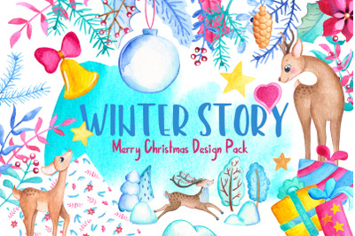 Watercolor Christmas Clipart And Patterns