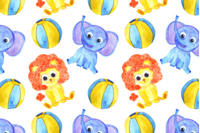 watercolor cute elephant and lion seamless pattern