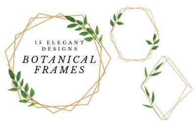 Minimal Geometric Frames, Botanical Watercolor Frames Clipart, Frames