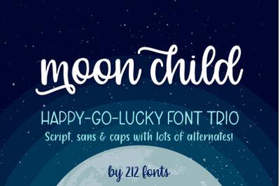 Moon Child Handwritten Font Trio including Script, Sans and Caps Fonts