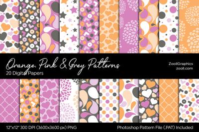Orange, Pink & Grey Digital Papers