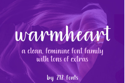 Warmheart Script Font Family including script, alternates and swashes