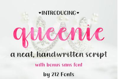 Queenie Script Font Family including Sans Serif, Serif and Script