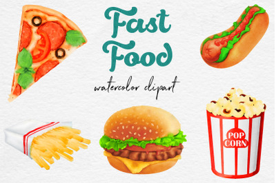 Watercolor Fast Food Clipart