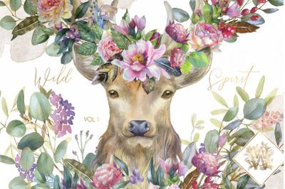 Boho wedding deer clipart, watercolor pink peony border clip art