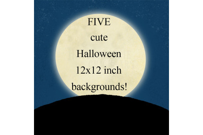 FIVE Halloween 12x12 Inch Background Illustrations