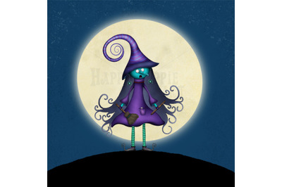 ONE Halloween 12x12 Inch Background Illustration Witch