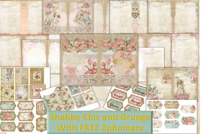 Printable Journal Kit Shabby Chic and Grunge With free Ephemera