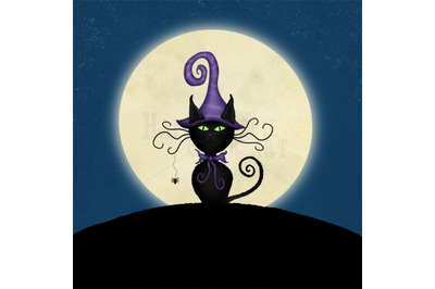 ONE Halloween 12x12 Inch Background Illustration Witch Cat