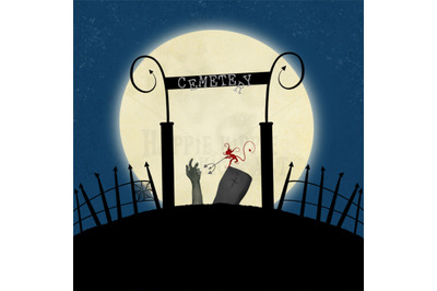 ONE Halloween 12x12 Inch Background Illustration Cemetery