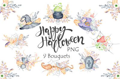 Halloween watercolor bouquets and cards