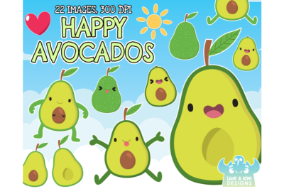 Happy Avocados Clipart - Lime and Kiwi Designs