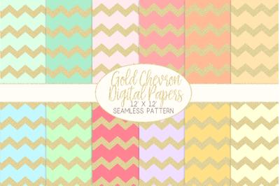 Gold Glitter Chevron Pattern Digital PapersGraphic Pattern