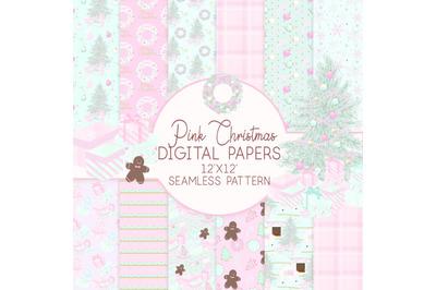 Pink Christmas Digital Paper Seamless Patterns