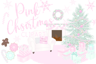 Pink Christmas Holiday Winter Clipart