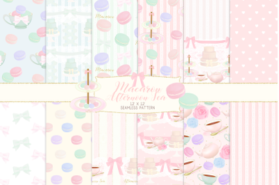 Macaron Afternoon Tea party Pattern Digital PapersGraphic Pattern