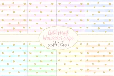 Gold Heart Watercolor Stripe Pattern Digital PapersGraphic Illustrati