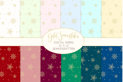 Gold Snowflakes Digital Papers Seamless PatternsGraphic Pattern