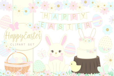 Easter Bunny and Eggs Clipart setGraphic Illustration