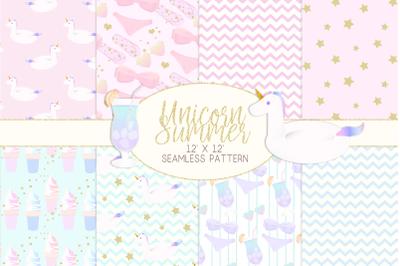 Unicorn Summer Digital PaperGraphic Pattern