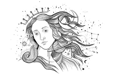 Space fairy. engraving style