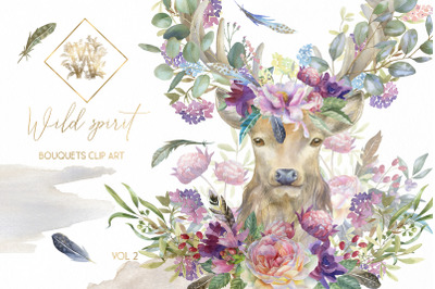 Watercolor boho bouquet clip art, floral deer wedding clipart