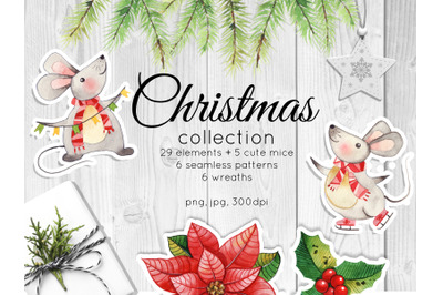 Christmas collection. Watercolor decor and cute cartoon mice.