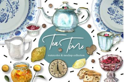 English Tea Time Illustrations, Patterns & Mockups