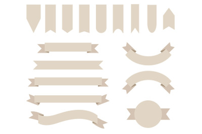 Khaki Tan Badge & Banner Clip Art Set