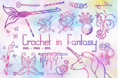 Crochet Hooks in Fantasy SVG Illustration pack.