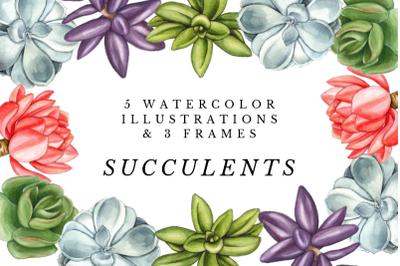 Watercolor Succulents Cliparts, Succulents Floral Wedding Invitation,
