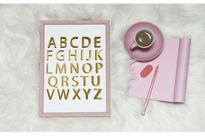 Simple Gold foil alphabet, Gold letters clipart, Gold numbers