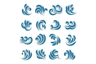 Sea wave element set. Vector illustration.
