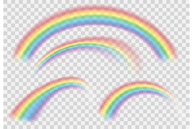 Shine Rainbow Set. Vector Rainbows isolated on transparent background