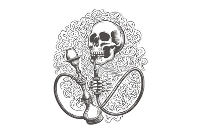 Skull with hookah in a smoke clouds. Vector illustration.