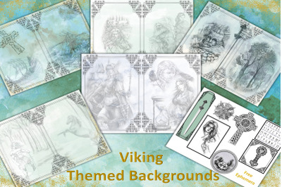 Viking Fantasy Themed backgrounds with free ephemera