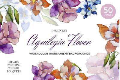 Aquilegia flowers velvet season watercolor png