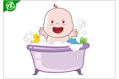 Baby bath cartoon