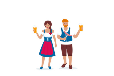 Man and woman in traditional German costumes celebrate Oktoberfest.